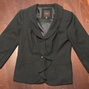 Black 3/4 sleeve ruffle suit jacket blazer- XS